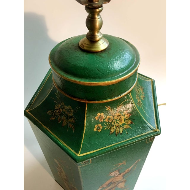 Metal English Chinoiserie Hexagon Tea Canister Lamp For Sale - Image 7 of 8