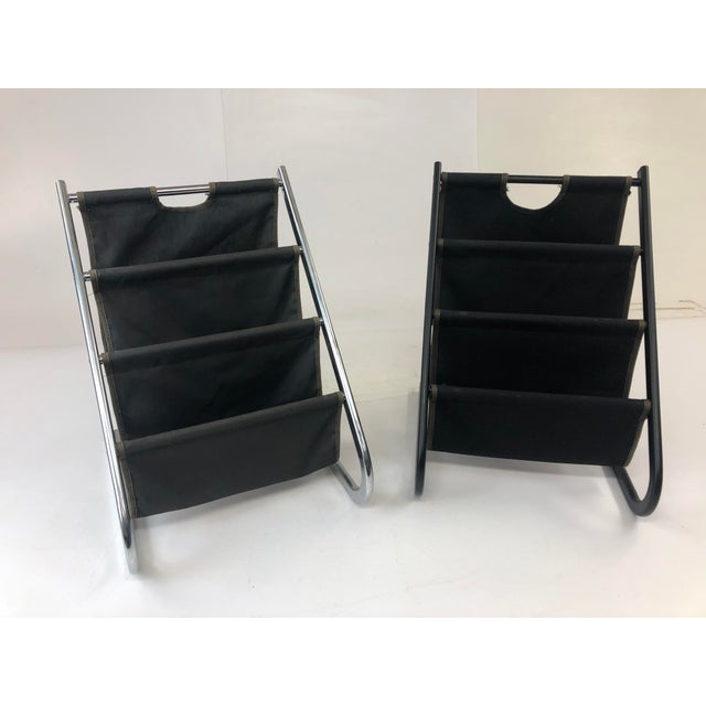 Vintage Mid Century Modern Sling Style Magazine Racks - a Pair For Sale - Image 11 of 11