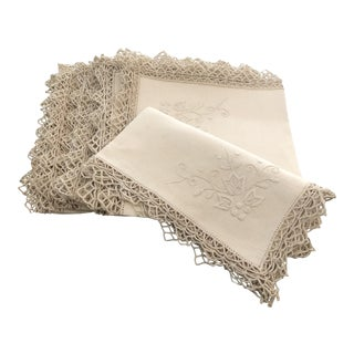 Vintage Italian Linen Napkins Hand-Embroidered Reticella - Set of 12 For Sale
