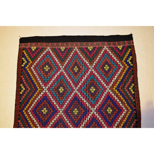 Turkish Hand Woven Kilim Rug/Braided Wall Hanging - 3′2″ X 3′5″ For Sale In Raleigh - Image 6 of 9