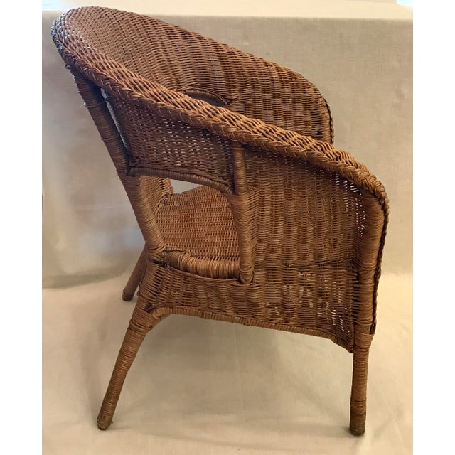 Late 20th Century Vintage Barrel Back Natural Wicker Chair For Sale In Dallas - Image 6 of 13