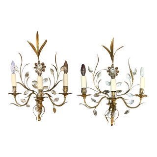 Vintage French 3-Light Wall Sconces - a Pair For Sale