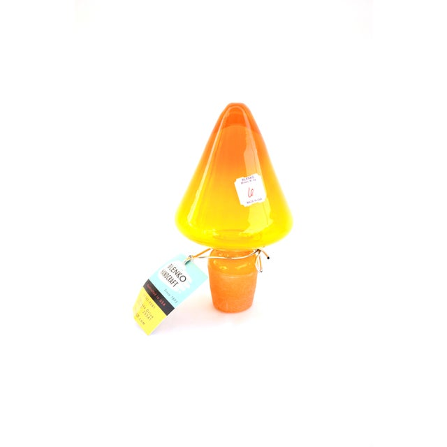 Blenko|• Wayne Husted Jonquil Tangerine Blown Art Glass Spool Decanter | Mid-Century Modern Collectible Glass Bottle For Sale - Image 11 of 12