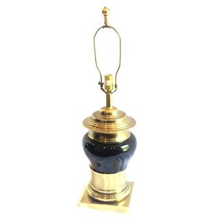 Hollywood Regency Brass & Black Table Lamp For Sale