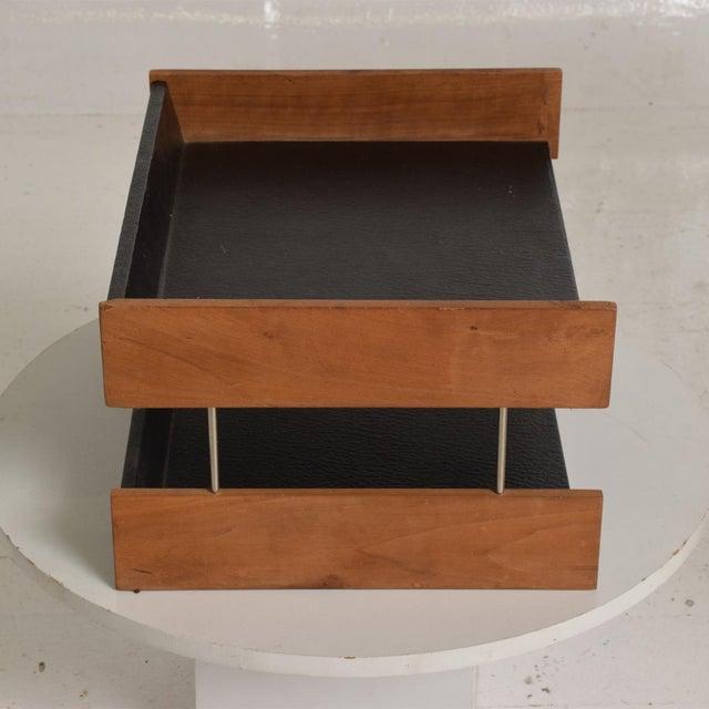 Mid Century Modern Office Desk Accessory, Teak Wood &B Faux Leather Service  Tray