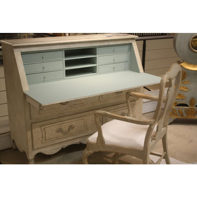 French French Gray Secretary Desk For Sale - Image 3 of 5