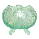 Image of Fenton Curtain Drapery Iridescent Teal Glass Footed Rose Bowl Vase For Sale