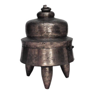 Asian Indian Style Round Brass Charcoal Stove on 3 Legs With Removeable Flip Top For Sale