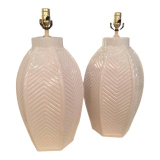 Vintage Oversized White Ceramic Chevron Table Lamps - a Pair For Sale
