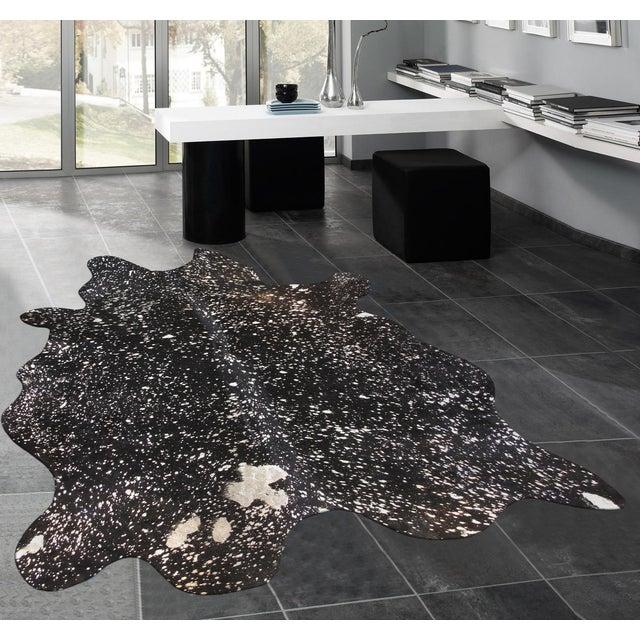 """Black Cowhide Rug- 5'10"""" X 7'4"""" - Image 4 of 4"""