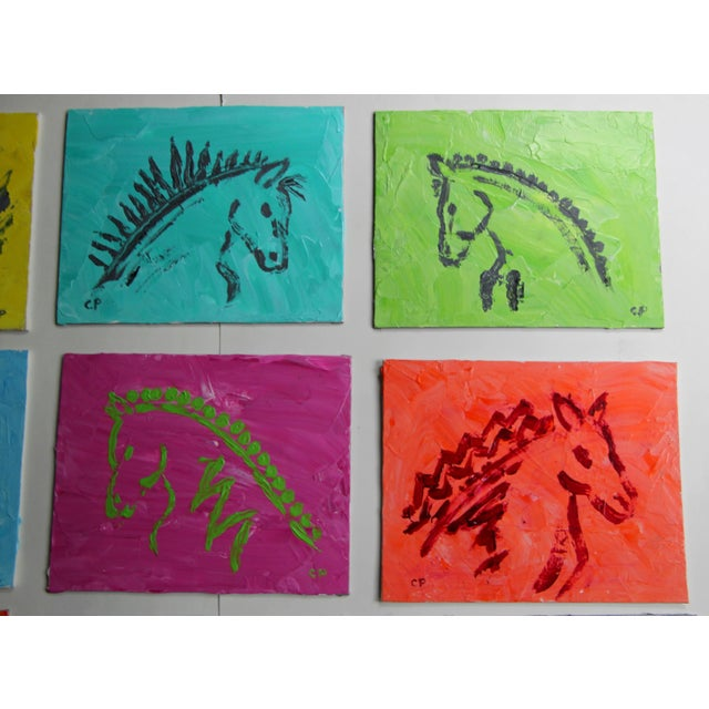 Horse Head Profile Paintings by Cleo Plowden - Set of 9 For Sale In New York - Image 6 of 8