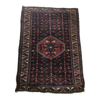 Antique Persian Black & Red Wool Rug - 3′6″ × 4′11″ For Sale