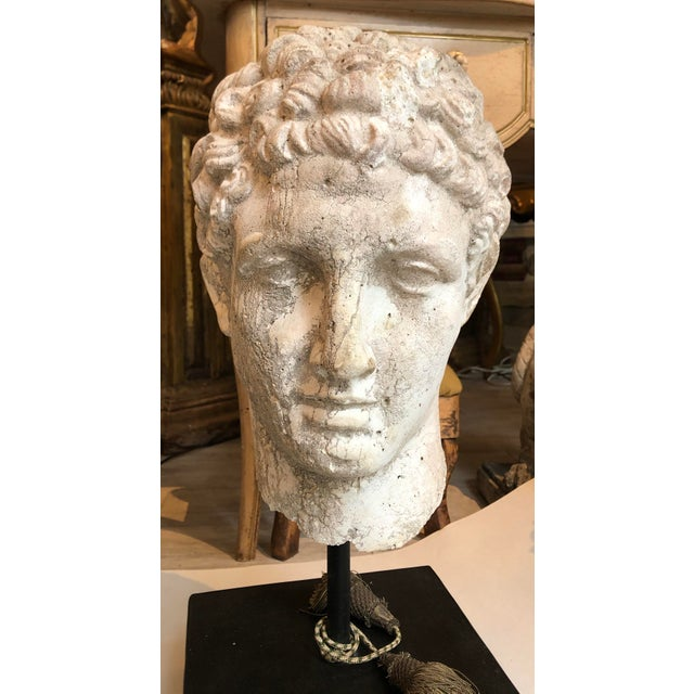 Antique White 1930s Greek Mid-Century Head of the God Hermes Sculpture For Sale - Image 8 of 13