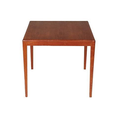1960s Danish teak square side table with tapered legs. No maker's mark.