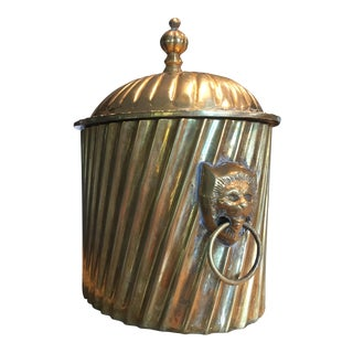 Mid Century Solid Brass Lions Head Hinged Box For Sale