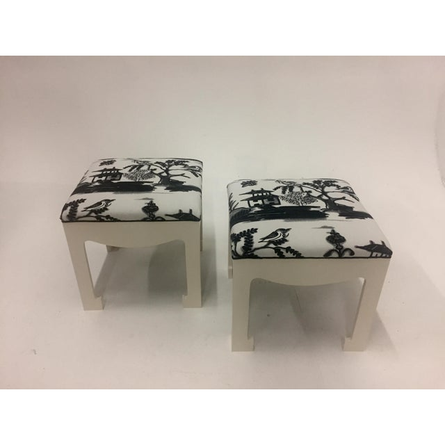 1970s Vintage Hollywood Regency Ottomans- A Pair For Sale - Image 9 of 13