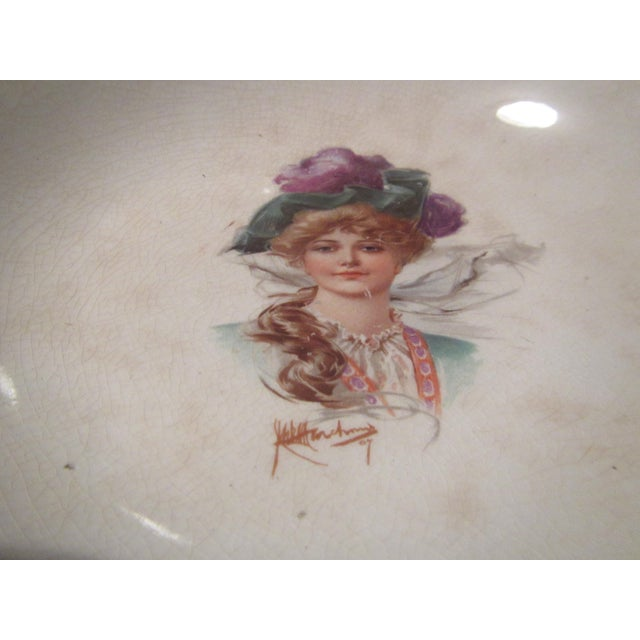 Signed 1907 Victorian Woman's Portraiture Bowl - Image 6 of 10