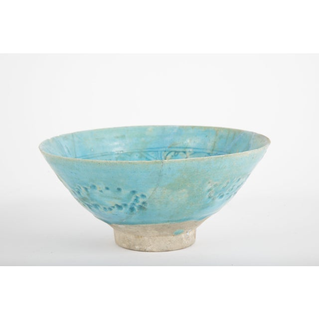 White Footed Conical Form Kashan Turquoise Glazed Pottery Bowl For Sale - Image 8 of 8