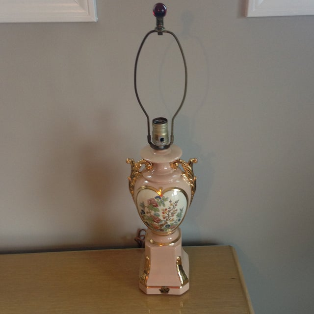 Vintage Blush Colored Deena China Lamp - Image 10 of 11