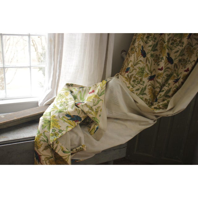 Vintage French pillow case cover colorful floral /& bird pattern Boussac design