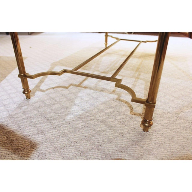 Maison Jansen Maison Jansen Style Brass & White Marble Top Coffee Table For Sale - Image 4 of 8