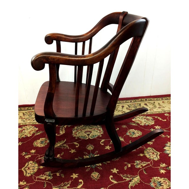 Antique Empire Barrel Back Claw Foot Mahogany Rocking Chair - Image 5 of 8