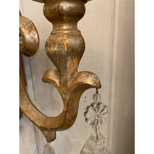 2010s Designer Giltwood Candle Sconces -A Pair For Sale - Image 5 of 13