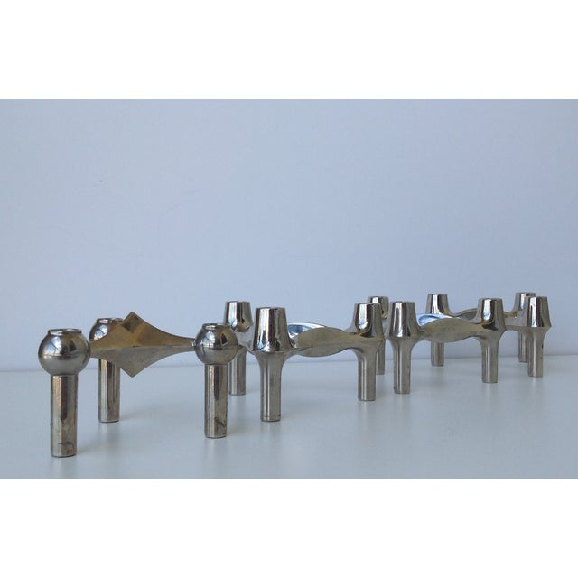 1960s Mid-Cenutry Fritz Nagel & Ceasar Stoffi Chrome-Plated Modular Candleholders - S/4 For Sale - Image 5 of 11