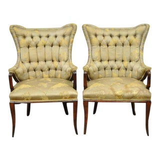 1940s Vintage Grosfeld House Hollywood Regency Mahogany Lounge Arm Chairs- A Pair For Sale