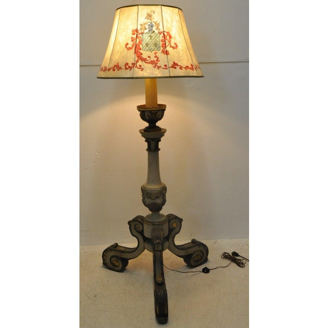 Mid-19th Century Italian Carved and Painted Floor Lamp For Sale In Dallas - Image 6 of 7