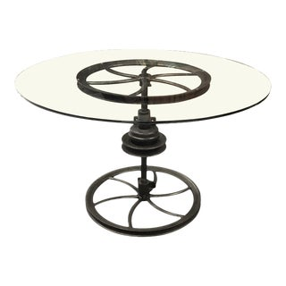 Antique Industrial Cast Iron Base Center Table For Sale