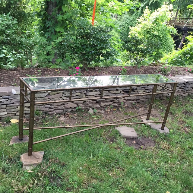 Vintage Faux Bamboo Metal Sofa Console Table - Image 2 of 11