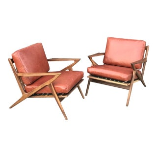 Custom Pair of Z Chairs in Terracotta Leather For Sale