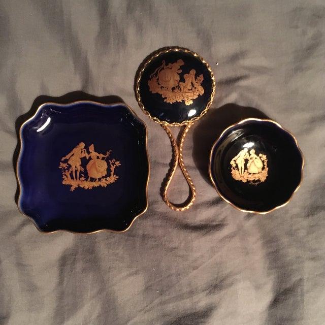 Blue Vintage Cobalt Blue Limoges Pocelain D'Art Vanity Set For Sale - Image 8 of 13