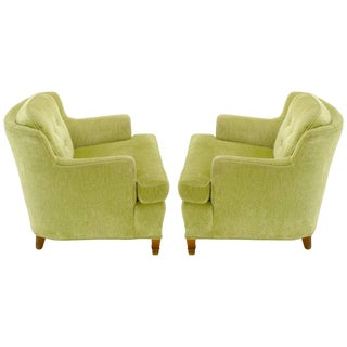 Pair of Pistachio Green Chenille Button-Tufted Low Barrel Back Wing Chairs For Sale