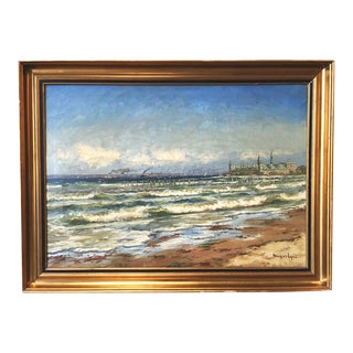 Swedish Oil Painting Ocean Scene With Castle