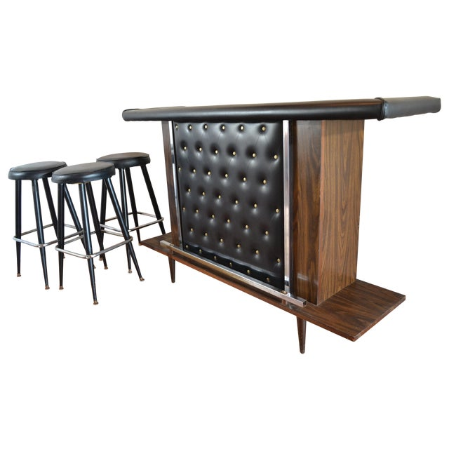Mid-Century Modern Tufted Bar & Stools - Image 1 of 10
