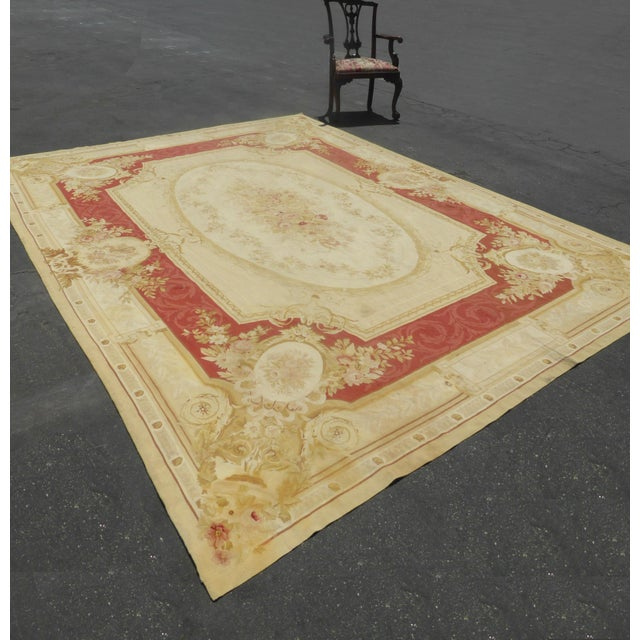 Vintage Tan Floral Aubusson Area Rug - 8′6″ × 11′7″ - Image 4 of 11