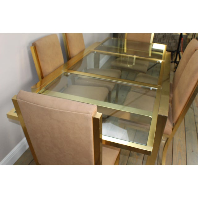 Mid-Century Modern 1990s Mid-Century Modern Brass Dining Table and Chairs - 7 Piece Set For Sale - Image 3 of 11