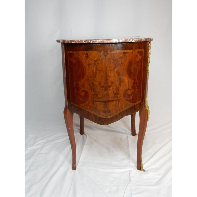 19th C. Italian Marquetry Marble Top Inlaid Table For Sale - Image 10 of 11