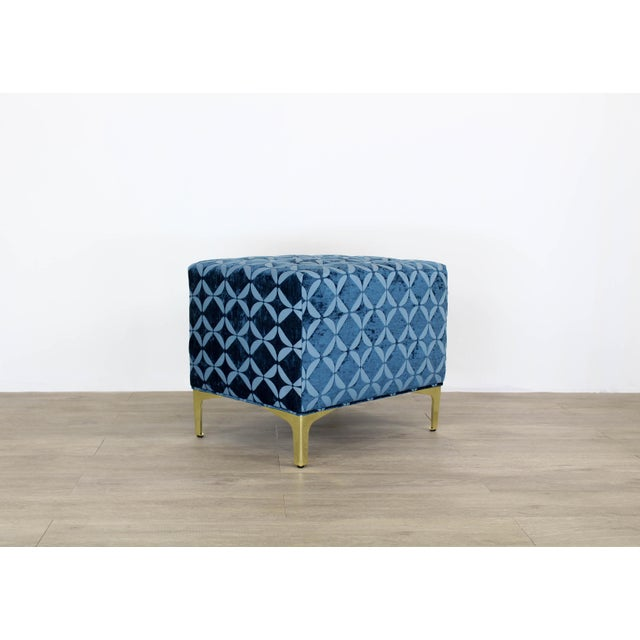 Vintage Blue Chenille Ottoman- a Pair For Sale In Miami - Image 6 of 9