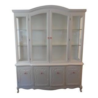 Mid-Century Modern White Wood China Cabinet