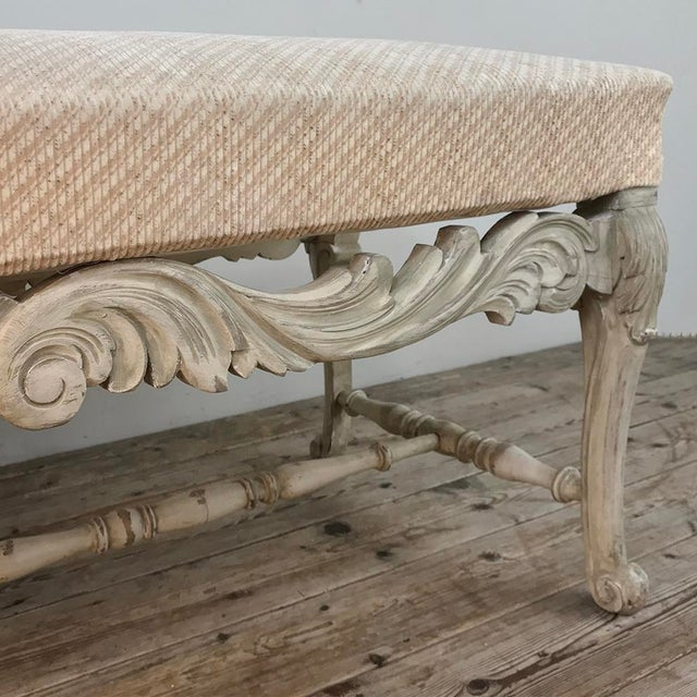 Green Antique French Louis XIV Painted Bench For Sale - Image 8 of 13