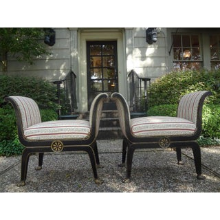 1940s Vintage Italian Neoclassical Style Ebonized and Gilt Wood Benches-A Pair Preview