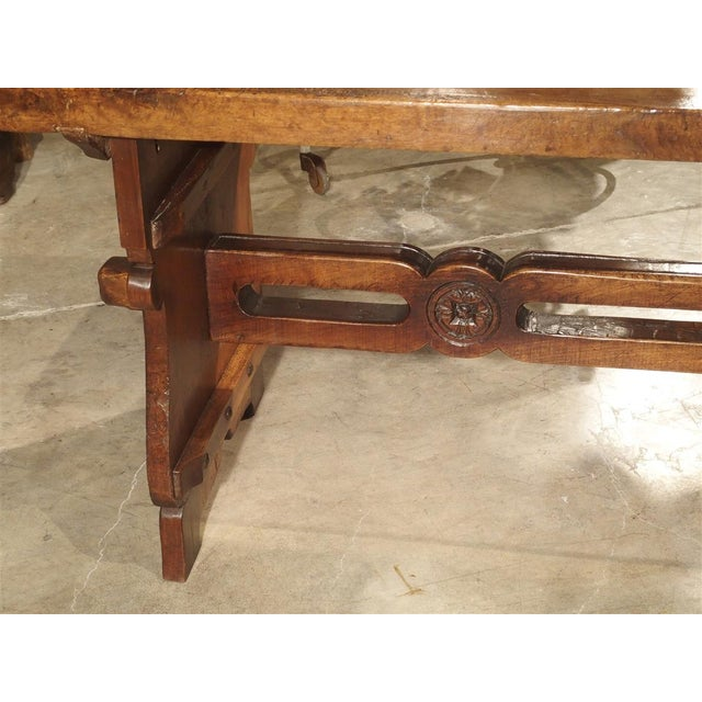 Antique Walnut Refectory Table From Tuscan Mountain Region C. 18th Century For Sale - Image 10 of 13