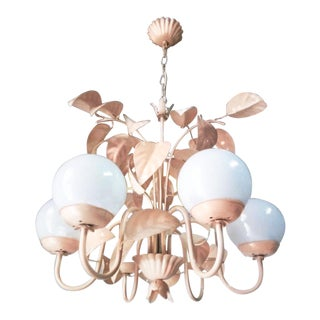 Art Deco 'Blush' Foliate 6-Arm Opaline Chandelier