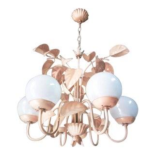 Art Deco 'Blush' Foliate 6-Arm Opaline Chandelier