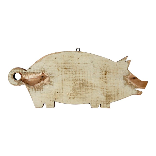 Vintage Wooden Pig Cutting Board For Sale