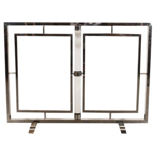 American Art Deco Machine Age Glass & Nickel Firescreen For Sale