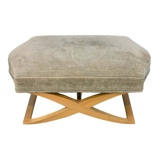 """Angelo Donghia """"Versailles"""" Blonde Wood Bench/ Ottoman by John Hutton For Sale"""